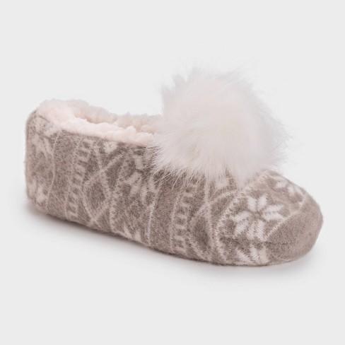 Muk Luks Women's Ballerina Slipper Socks With Pom Poms - Beige : Target