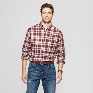 Men's Plaid Standard Fit Long Sleeve Pocket Flannel Collared Button-Down Shirt - Goodfellow & Co™ Luxury Wine 2XL