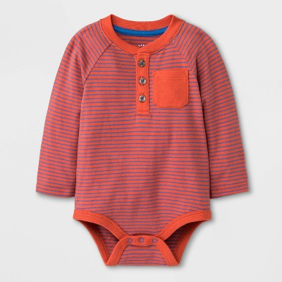 Baby Boys' Long Sleeve Bodysuit - Cat & Jack™ Orange 3-6M
