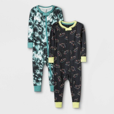 Toddler Boys' 2pk Dino 100% Cotton Pajama Jumpsuit - Cat & Jack™ White