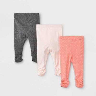 Baby Girls' 3pk Basic Pull-On Pants - Cloud Island™ Pink Newborn