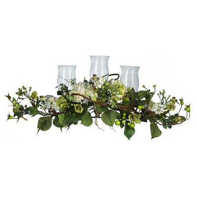 Nearly Natural Hydrangea Triple Candelabrum Centerpiece Cream