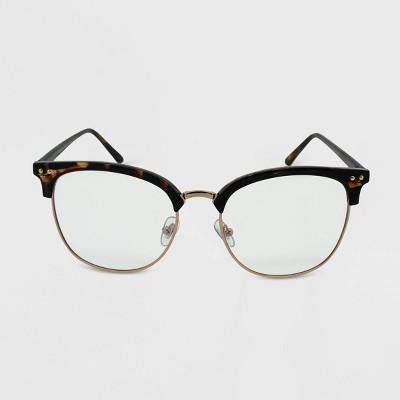 Women's Oversized Tortoise Print Square Blue Light Filtering Glasses - Wild Fable™ Brown