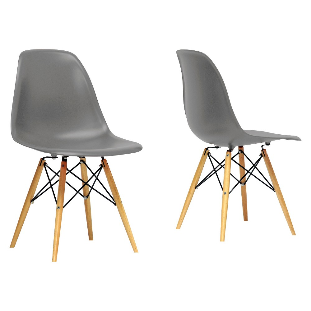 Azzo Plastic Mid-Century Modern Shell Chair - Gray (Set of 2) - Baxton Studio