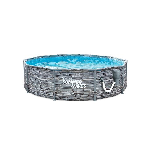 Summer Waves P2W01030A 10 Foot Diameter Round Stone Slate Print Metal Frame Above Ground Back Yard Family Swimming Pool with SkimmerPlus Filter Pump - image 1 of 4