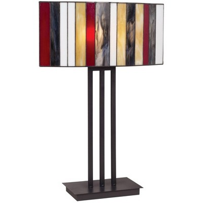 Robert Louis Tiffany Modern Table Lamp Bronze Iron Striped Stained Glass Shade for Living Family Room Bedroom Bedside Nightstand