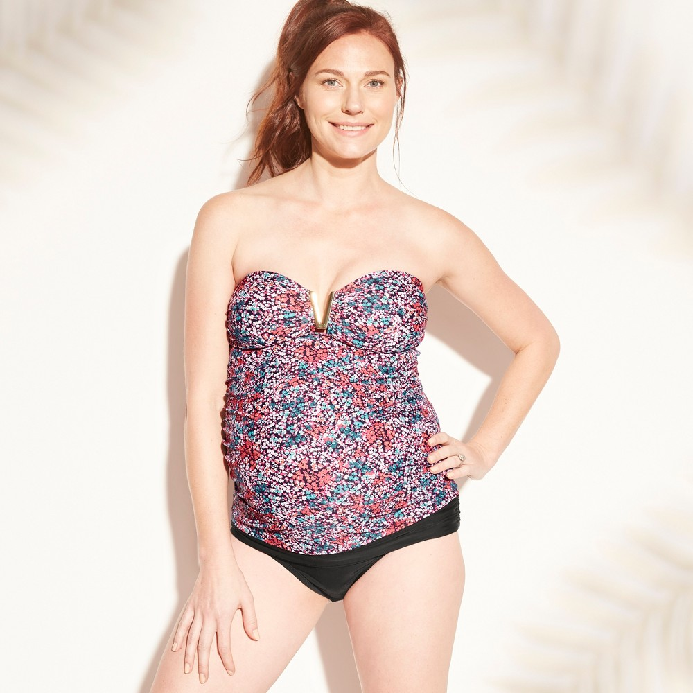 Maternity Floral Print V Wire Bandeau Tankini Top - Isabel Maternity by Ingrid & Isabel Xxl, Women's, Multicolored