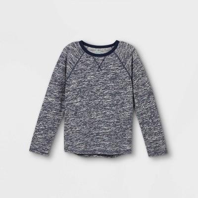 Boys' Adaptive Soft Long Sleeve Crewneck T-Shirt - Cat & Jack™ Heather Navy