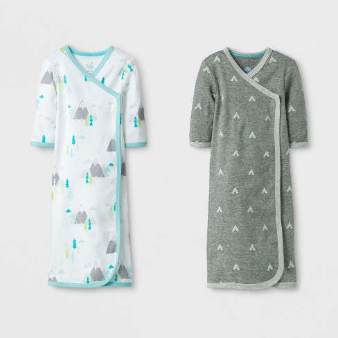 Baby Boys' 2pk Gowns - Cloud Island™ Gray/White Preemie - image 1 of 2