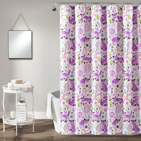 "72""x72"" Pixie Fox Shower Curtain Purple/Pink - Lush Dcor - image 1 of 4"