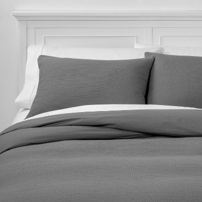 King Micro Texture Duvet Cover & Sham Set Gray - Project 62™ + Nate Berkus™