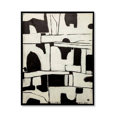 26 X20 Abstract Black And White Framed Wall Canvas Project 62