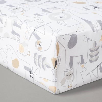 Fitted Crib Sheet Animals - Cloud Island™ White/Beige