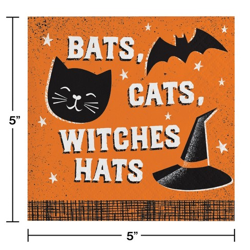 Bats Cats and Witches Hats Beverage Napkins Orange - image 1 of 1