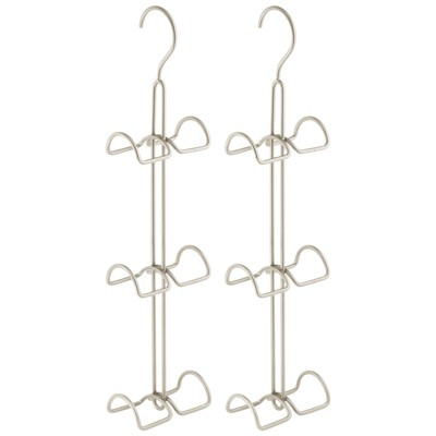 mDesign Metal Wire Over Closet Rod Hanging Handbag Organizer, 2 Pack