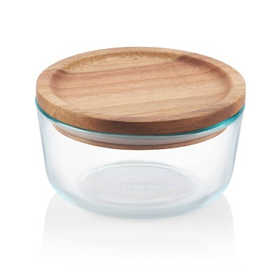 Pyrex 4 Cup Glass Round Food Storage Container with Wooden Lid