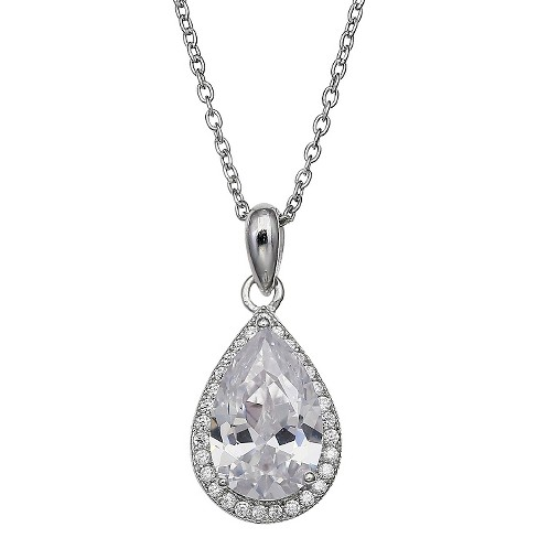 "Women's Pave Teardrop Cubic Zirconia Pendant in Sterling Silver (18"") - image 1 of 1"