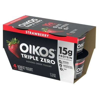 Dannon Oikos Triple Zero Greek Strawberry Yogurt - 5.3oz/4pk