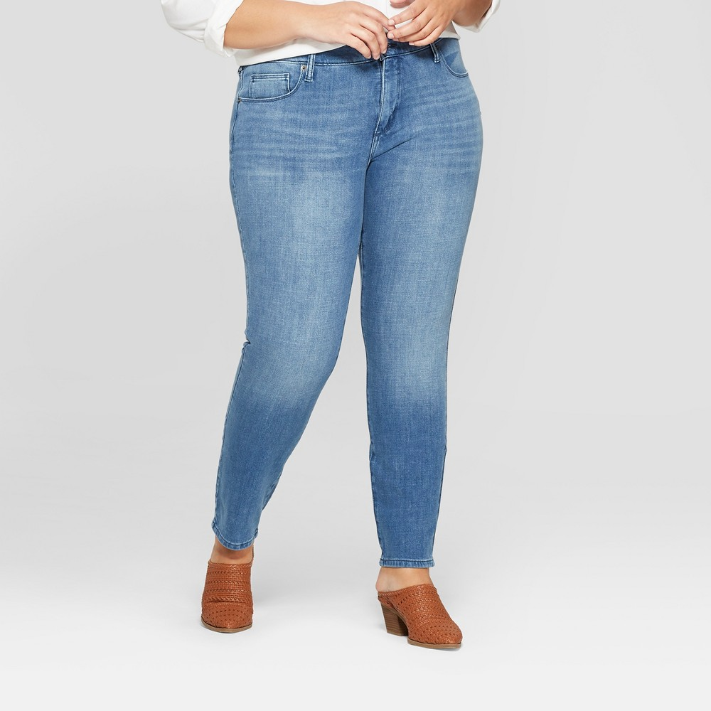 Women's Plus Size Bi-Stretch Skinny Jeans - Universal Thread Medium Wash 24W, Blue