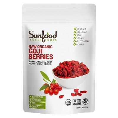 Sunfood Superfoods Raw Organic Vegan Goji Berries - 8oz