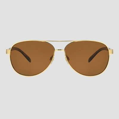 Women's Tortoise Shell Aviator Sunglasses with Polarized Lenses - A New Day™ Gold