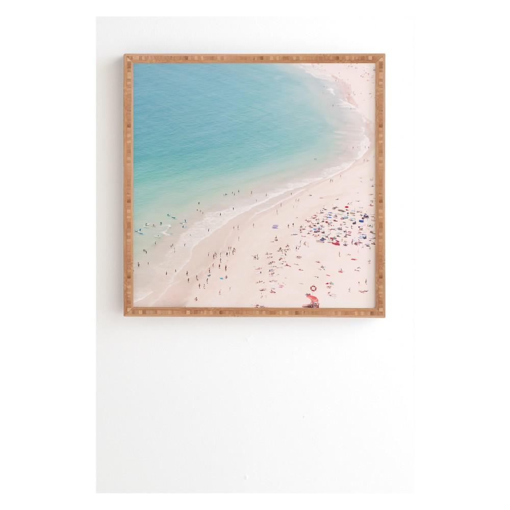 30 X 30 Ingrid Beddoes Beach Turquoise Blue Framed Wall Art Blue Society6