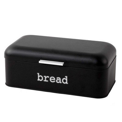 Juvale Bread Boxes for Kitchens Countertop, Stainless Steel Bread Bin Dry Food Storage Containers, Matte Black, 16.75 x 9 x 6.5 inches