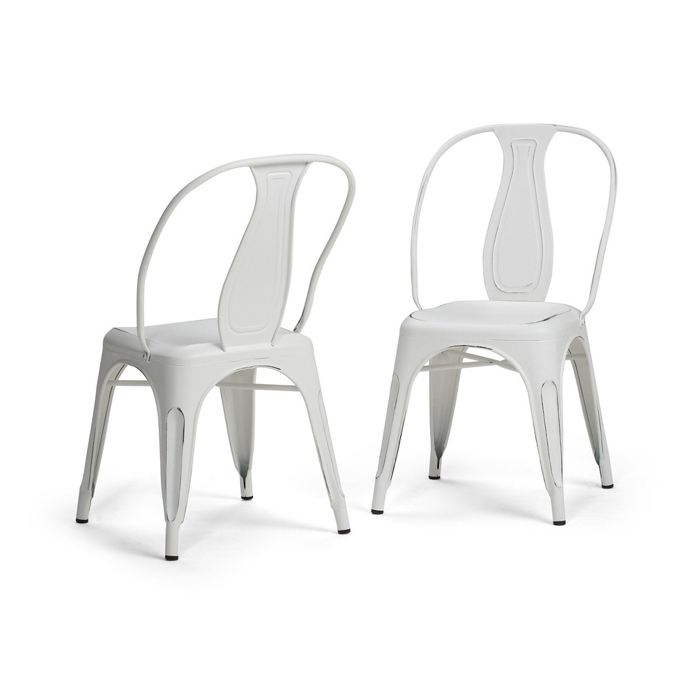 Gemma Metal Dining Arm Chair Set of 2 Distressed White - Wyndenhall