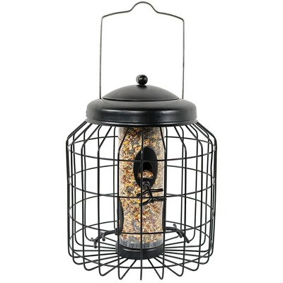 """Sunnydaze Outdoor Hanging Steel Wire Cage Wild Bird Feeder with 4 Resting Pegs and Easy-Fill Top - 12"""" - Black"""