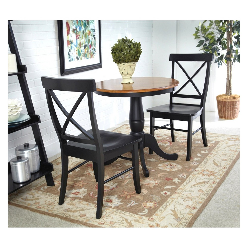 30 Set of 3 Round Dining Table with 2 X Back Chairs Black/Red - International Concepts