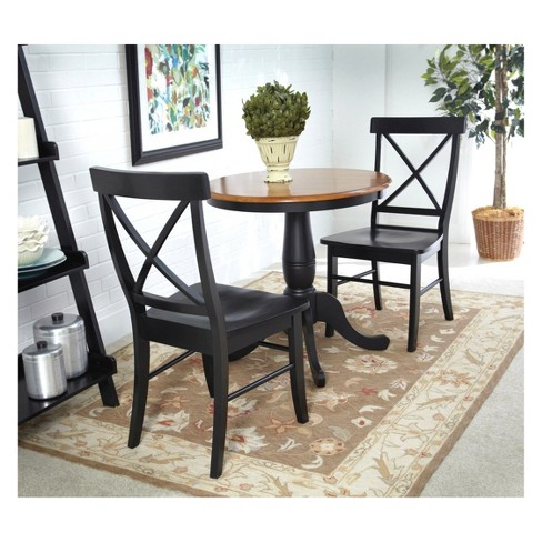 Set Of 3 30 Round Extendable Dining Table With 2 Back Chairs Black Red International Concepts Target