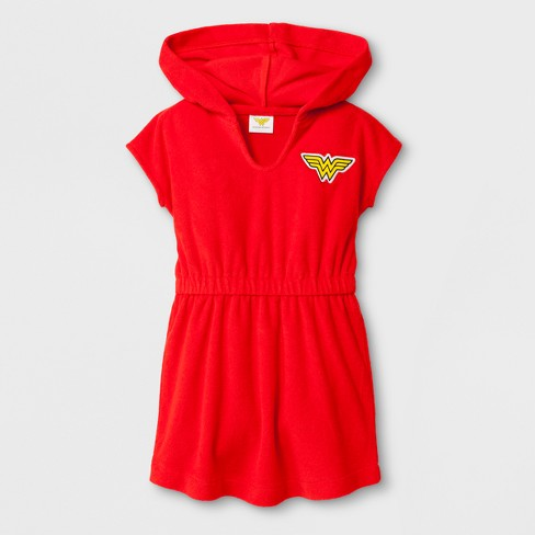 Toddler Girls' DC Comics Wonder Woman Cover Up - Red - image 1 of 1