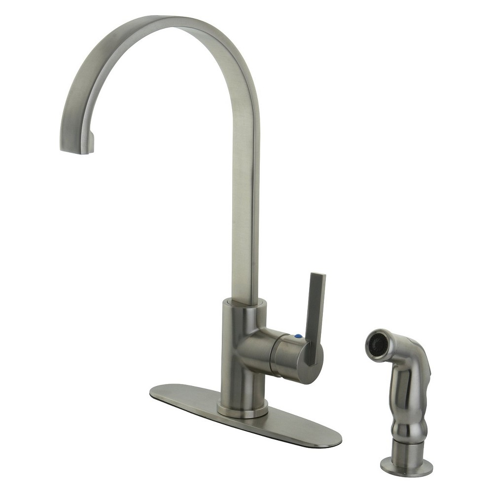 Image of Modern Single Lever Kitchen Faucet Satin Nickel - Kingston Brass
