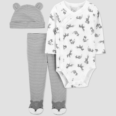 Baby Boys' 3pc Fox Side Snap Top and Bottom Set - Just One You® made by carter's Gray Newborn