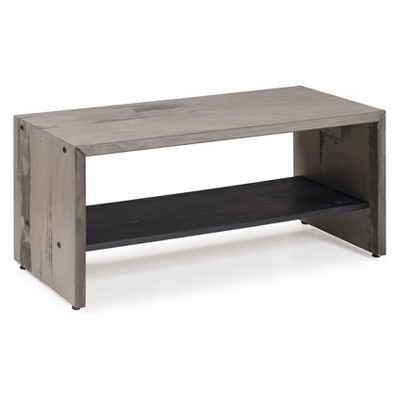 "42"" Two Tone Rustic Farmhouse Entryway Bench With Shelf Gray - Saracina Home"
