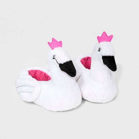 Toddler Girls' Swan Bootie Slippers - Cat & Jack™ White - image 1 of 2