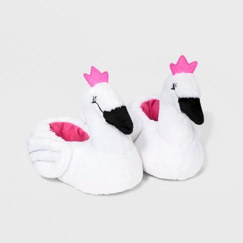 891570d1dad396 Toddler Girls  Swan Bootie Slippers - Cat   Jack™ White   Target