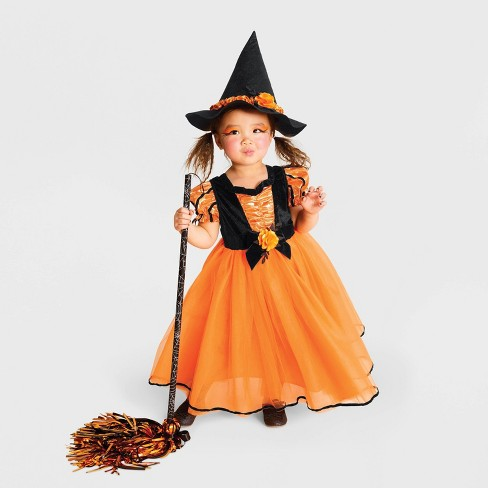 Halloween Costumes For Kids Girls 11 And Up.Toddler Girls Fancy Witch Halloween Costume Orange Hyde Eek Boutique
