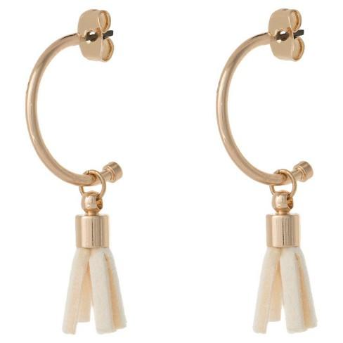 Women's Hoop Earring with Tassel - White/Gold - image 1 of 1