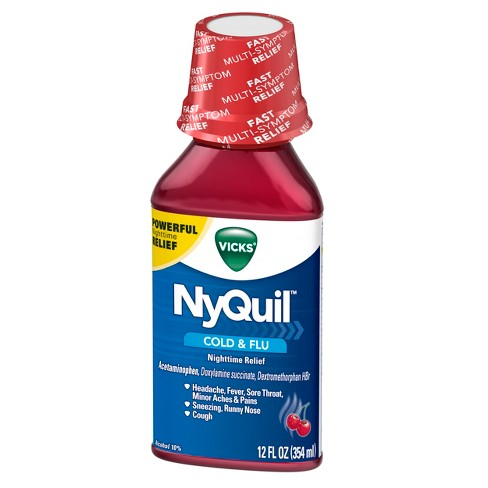 Vicks NyQuil Cold & Flu Relief Liquid - Acetaminophen - Cherry - 12 fl oz - image 1 of 2