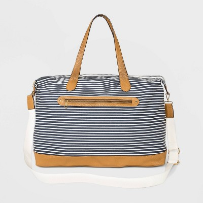 Striped Canvas Weekender Bag - A New Day™ Navy/White