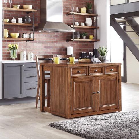Sedona Wood Top Kitchen Island & 2 Stools Brown - Home Styles
