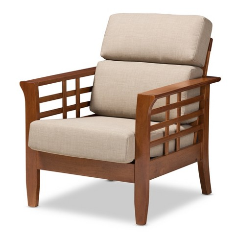 Baxton Studio Larissa Modern Classic Mission Style Cherry Finished Wood and Fabric High Back Cushioned Living Room Dark Beige Cherry - image 1 of 4