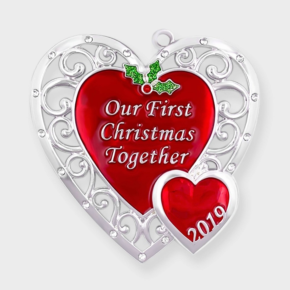 Image of Harvey Lewis - Our First Christmas Together 2019 Heart Ornament Red