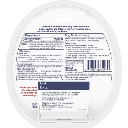 Abreva Docosanol 10% Cream Cold Sore/Fever Blister Treatment Tube - 0.07oz  : Target