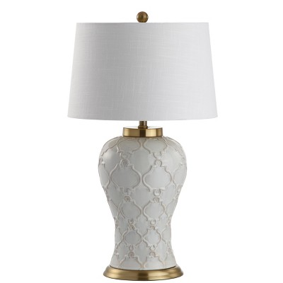 "29"" Arthur Ceramic LED Table Lamp Cream (Includes Energy Efficient Light Bulb) - JONATHAN Y"