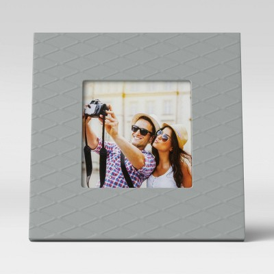 """4"""" x 4"""" Square Textured Frame Gray - Room Essentials™"""