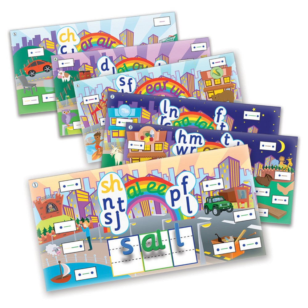 Junior Learning Rainbow Phonics Word City Landscapes 6ct