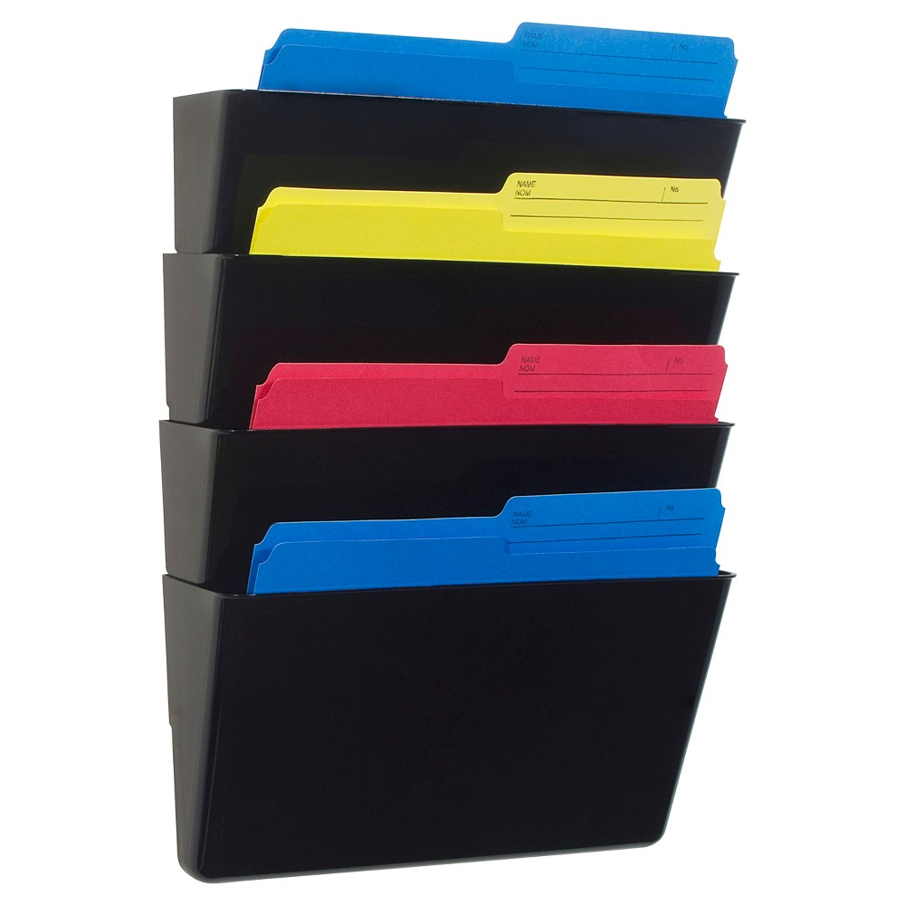 Storex Wall Files, Letter Size, 4ct - Black