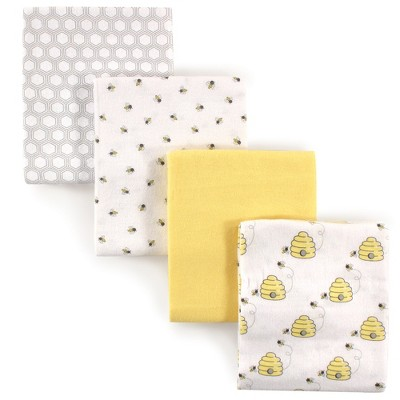 Hudson Baby Infant Cotton Flannel Receiving Blankets, Bee, One Size